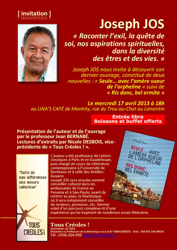 """INVITATION : Joseph JOS à """"Tous Créoles !"""""""