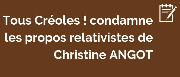 Condamnation des propos de Christine ANGOT